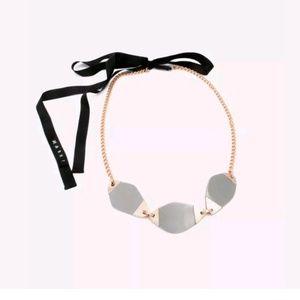 MARNI Resin Ribbon Chain Statement Necklace Grey